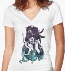 Dia de los Muertos - Ombre de nuit T-shirt col V femme