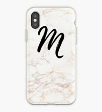 Pink Marble Effect Monogram - M iPhone Case