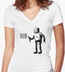 BANKSY - ROBOT BARCODE Women's Fitted V-Neck T-Shirt