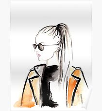Top Ponytail Watercolour Illustration Poster