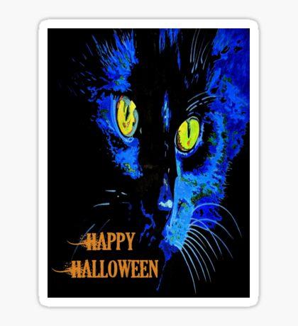 Black Cat Portrait with Happy Halloween Greeting Sticker