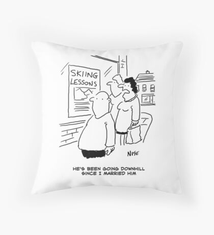Doing the men's downhill Throw Pillow