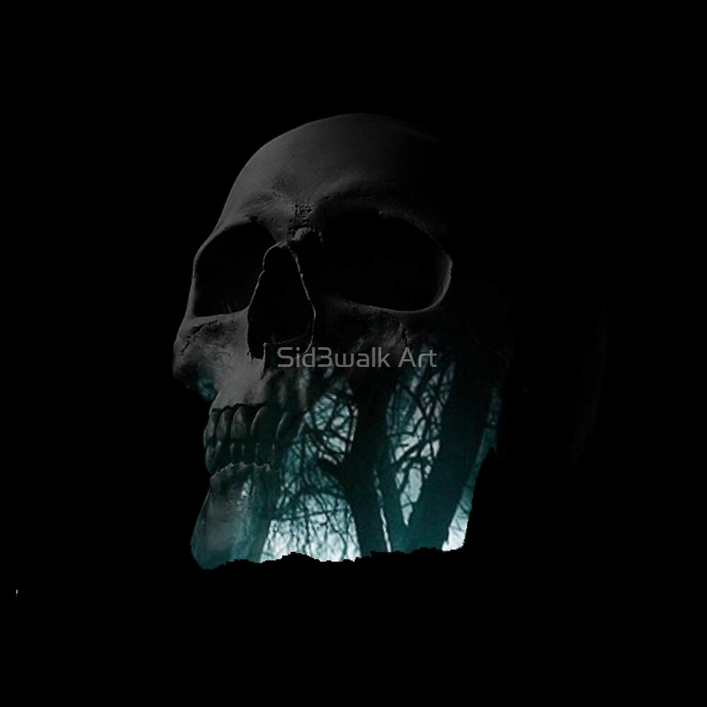 Skull Creepy Forest Double Exposure Scary by Sid3walk Art