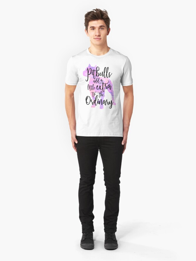 Alternate view of Extraordinary Pitbull Watercolor Slim Fit T-Shirt
