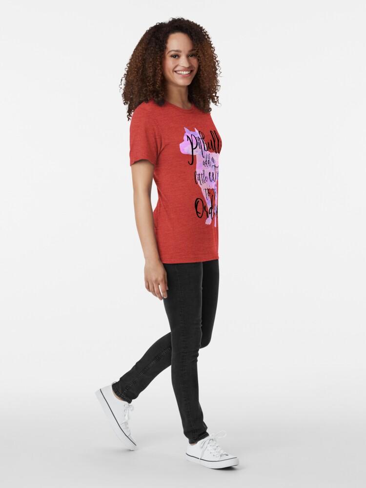Alternate view of Extraordinary Pitbull Watercolor Tri-blend T-Shirt