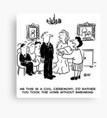 Civil wedding ceremony cartoon Canvas Print