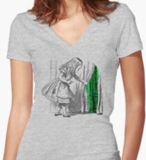 Follow the white rabbit Women's Fitted V-Neck T-Shirt