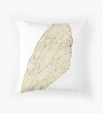 Cicada Wings in Gold Throw Pillow