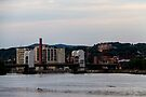 Collar City Bridge Troy Sunset by ValeriesGallery
