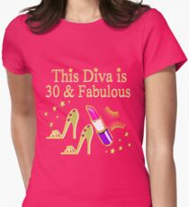 THIS DIVA IS 30 AND FABULOUS GOLD HIGH HEELS Womens Fitted T-Shirt