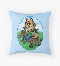 Summertime Treat - Coyote with Ice Cream Throw Pillow