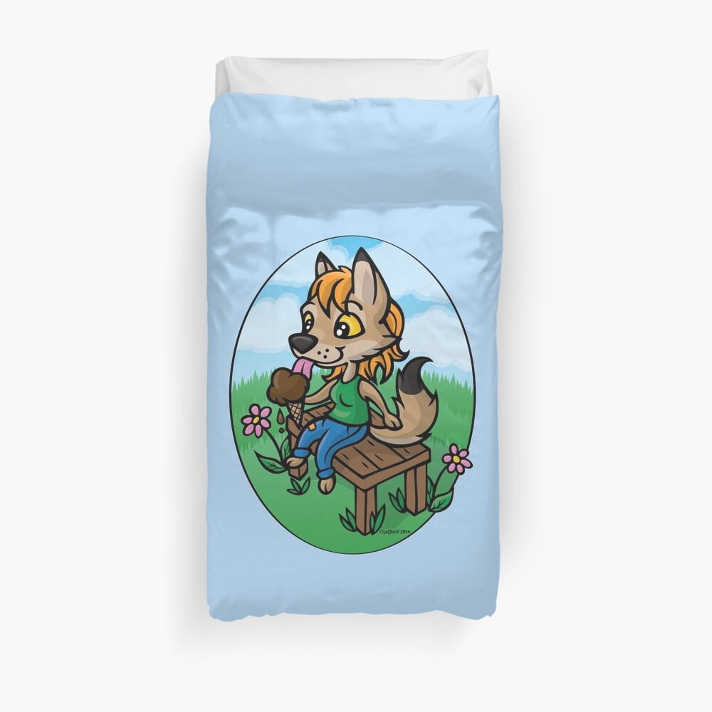 Summertime Treat - Coyote with Ice Cream Duvet Cover