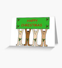 Happy Christmas from naked men wearing only holly. Greeting Card