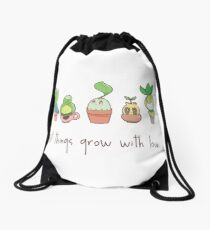 ALL THINGS GROW WITH LOVE Drawstring Bag