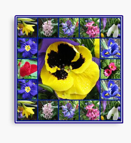 Riot of Colour Spring Flowers Collage Leinwanddruck