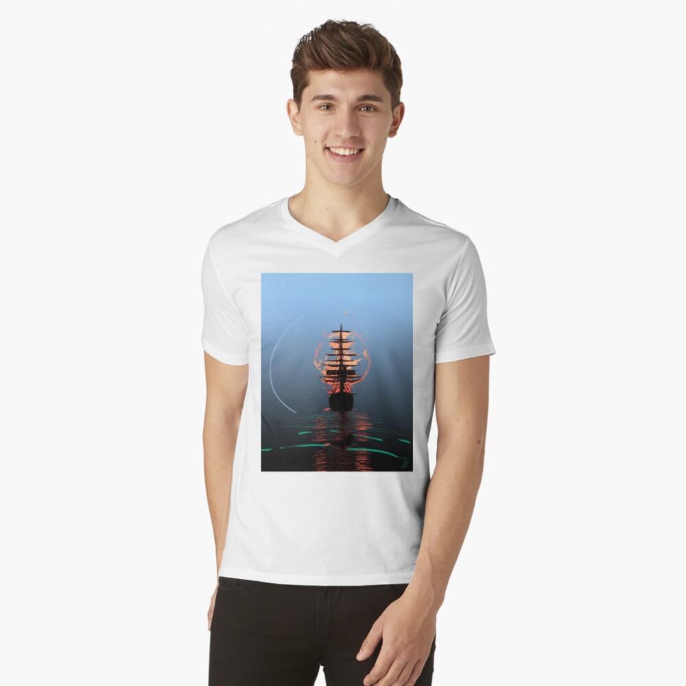 Sail On Mens V-Neck T-Shirt Front