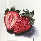 Watercolor Strawberries by careball