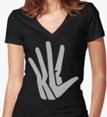 Hand Logo Gray Women's Fitted V-Neck T-Shirt