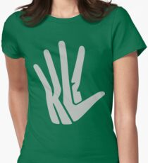 Hand Logo Gray Womens Fitted T-Shirt