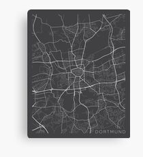 Dortmund Map, Germany - Gray Canvas Print