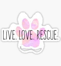 Live. Love. Rescue Pink Watercolor Paw Sticker