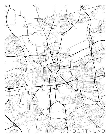 Dortmund On Map Of Germany.Dortmund Map Germany Black And White Posters By Mainstreetmaps