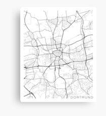 Dortmund Map, Germany - Black and White Canvas Print