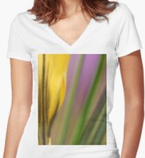 First flowers of the year in macro Women's Fitted V-Neck T-Shirt