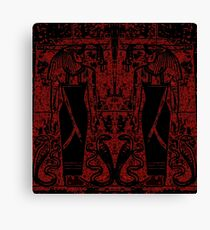 Egyptian Priests and Cobras in Black and Red I Canvas Print