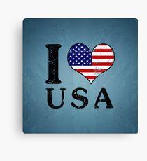 I LOVE USA (black) Canvas Print