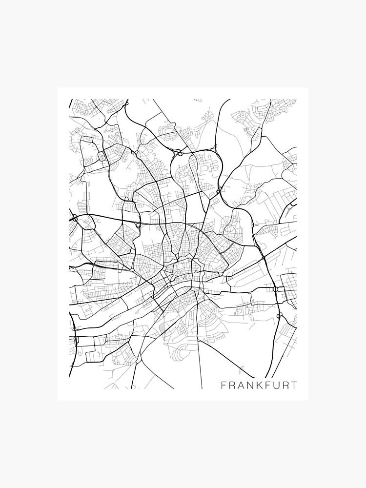 Carte Allemagne Noir Et Blanc.Carte De Francfort Allemagne Noir Et Blanc Impression Photo
