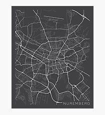 Nuremberg Map, Germany - Gray Photographic Print