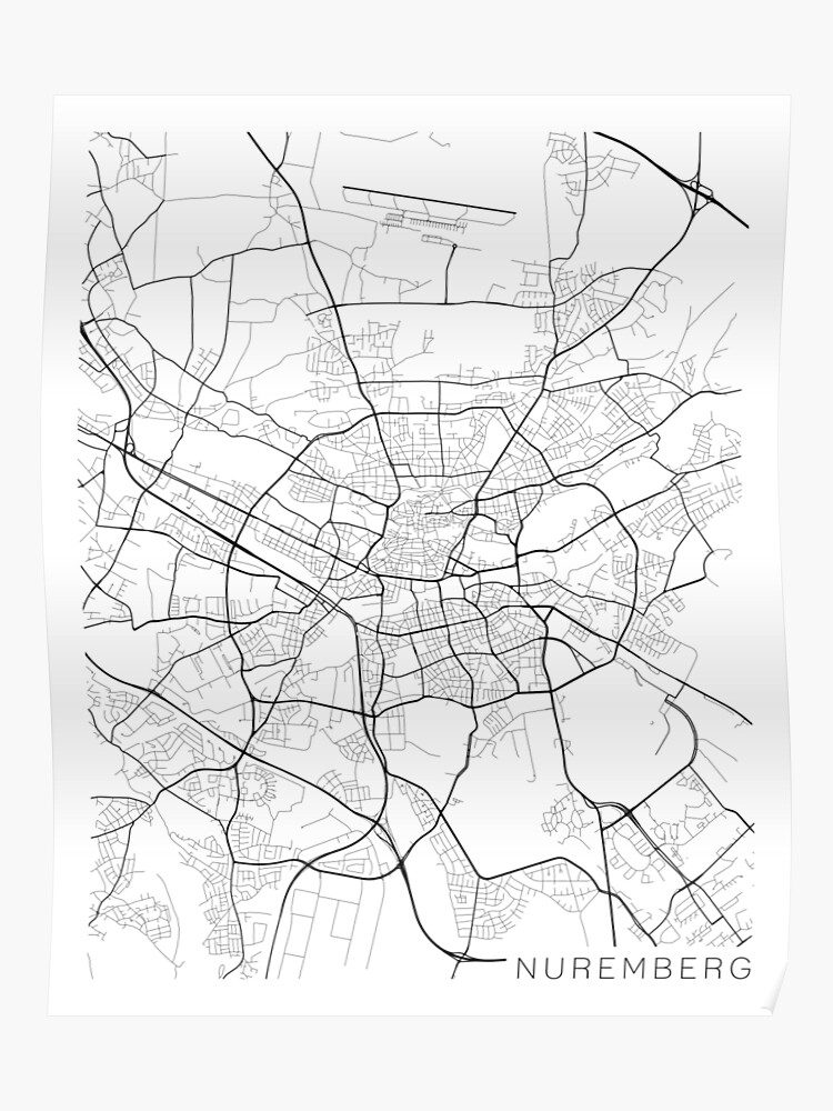 Map Of Germany Nuremberg.Nuremberg Map Germany Black And White Poster