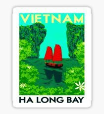"""VIETNAM"" Vintage Ha Long Bay Travel Print Sticker"