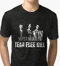 Supernatural Team Free Will White silhouette Tri-blend T-Shirt