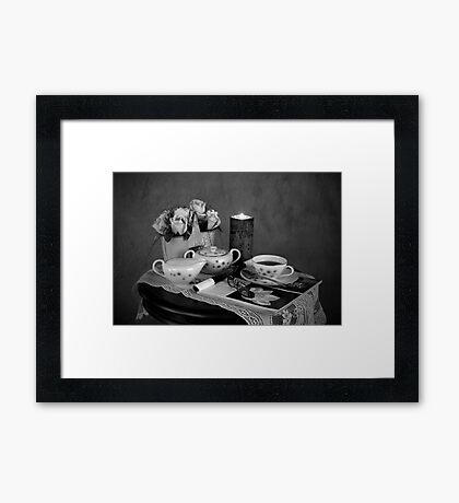 Reading and Coffee Time Black and White Framed Print