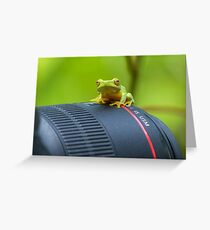 Frog on a Lens Greeting Card
