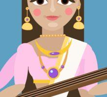 Hindu Goddess Saraswati. Vector hand drawn illustration. Sticker