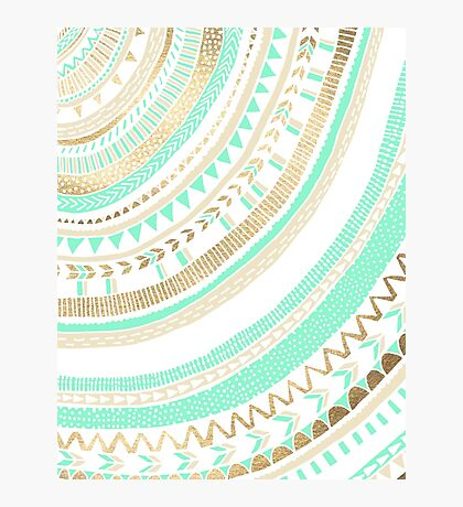 Mint + Gold Tribal Photographic Print