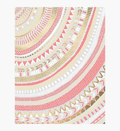 Coral + Gold Tribal Photographic Print