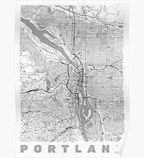 Portland Stadt Kartenlinie Poster