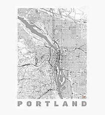 Portland City Map Line Photographic Print