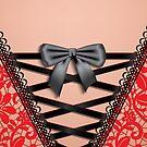 Female Back Black Vintage Damask Lace Corset Lingerie  by CroDesign