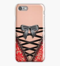Female Back Black Vintage Damask Lace Corset Lingerie  iPhone Case/Skin