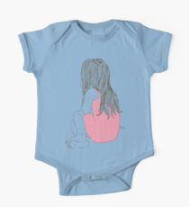 Little girl in a pink dress sitting back hair One Piece - Short Sleeve