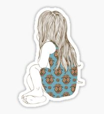 Little girl in a dress sitting back hair Sticker