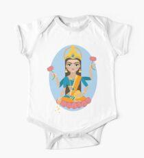 Body de manga corta para bebé Ilustración de la deidad hindú madre Lakshmi