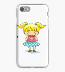Cute girl holding a watermelon slice iPhone Case/Skin