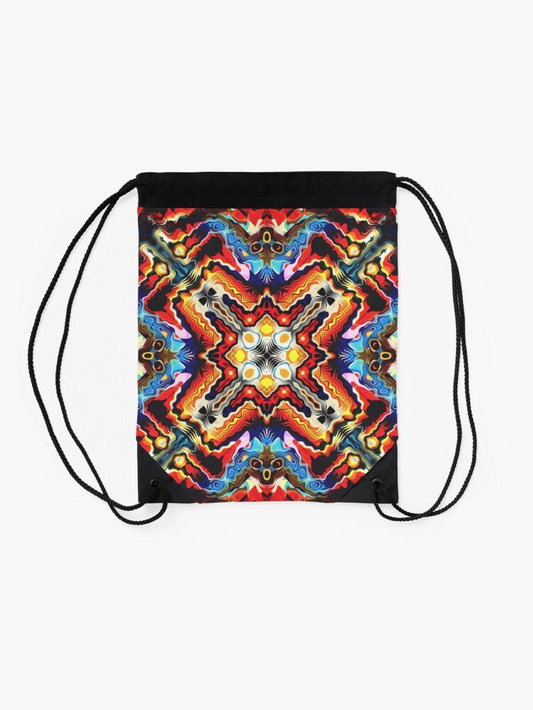 Alternate view of Colorful Tribal Motif Drawstring Bag