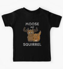 Moose and squirrel with text Kids Tee